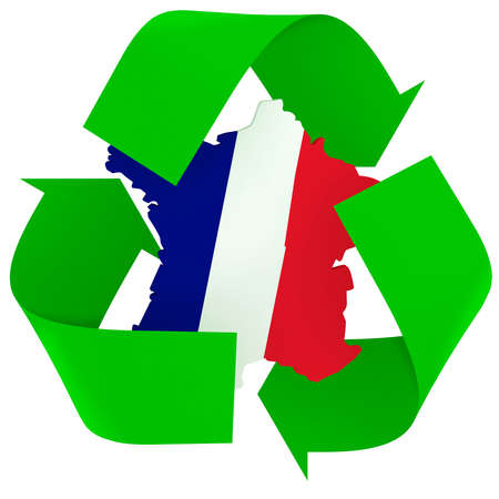 Symbol recycle with french maps and flag colors, the green, white and red, 3d illustration