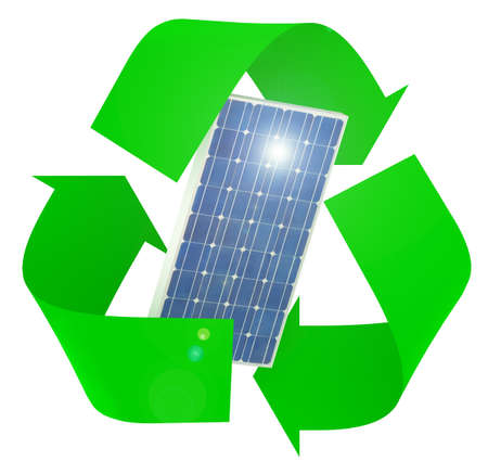 solar panel inside symbol recycle isolated on white background, 3d illustration Stockfoto