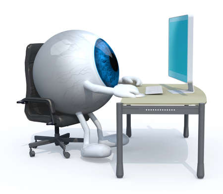 blue eyeball with arms and legs seating working on desk with computer, 3d illustration