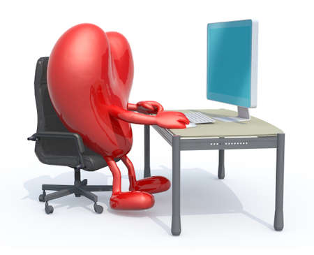 heart with arms and legs seating working on desk with computer, 3d illustration