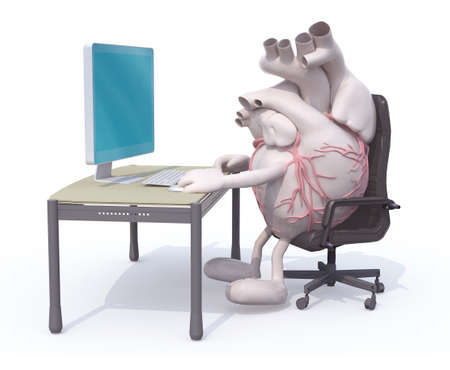 heart with arms and legs seating working on desk with computer, 3d illustration 写真素材 - 123944455