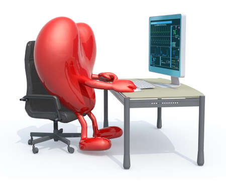heart with arms and legs seating working on desk with computer for cardiogram, 3d illustration