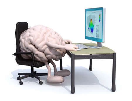brain with arms and legs seating working on desk with computer, 3d illustration Stockfoto