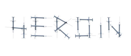 word heroin written with syringes, 3d illustration Stockfoto
