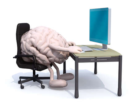 brain with arms and legs seating working on desk with computer, 3d illustration 写真素材 - 123944462