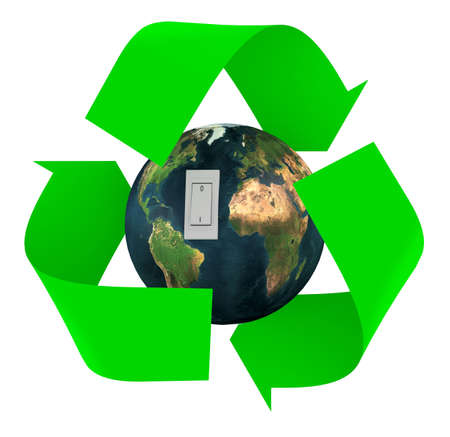 green recycle symbol with earth inside and switch, isolated 3d illustration.