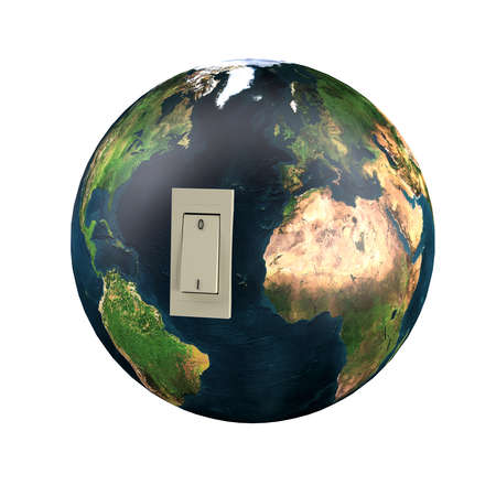 Planet earth with switch off. isolated 3d illustration.
