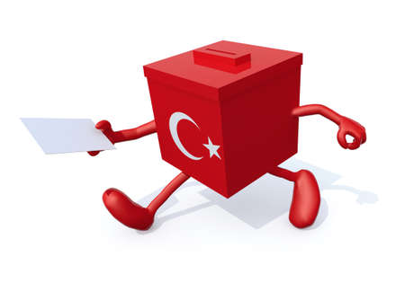 Turkish election ballot box whit arms, legs and envelope paper on hands, 3d illustration Stockfoto