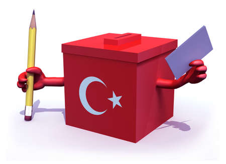Turkish election ballot box whit arms, pencil and paper on hands, 3d illustration