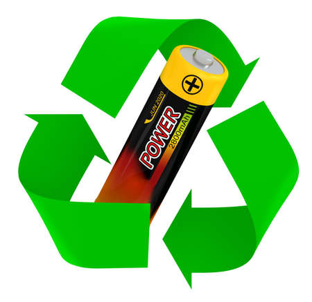 Battery recycling symbol. isolated 3d illustration 写真素材 - 123944468