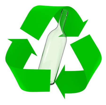 green recycle symbol with glass bottle inside, isolated 3d illustration. Stockfoto