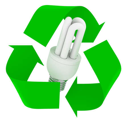green recycle symbol with luminescent light bulb inside, isolated 3d illustration.