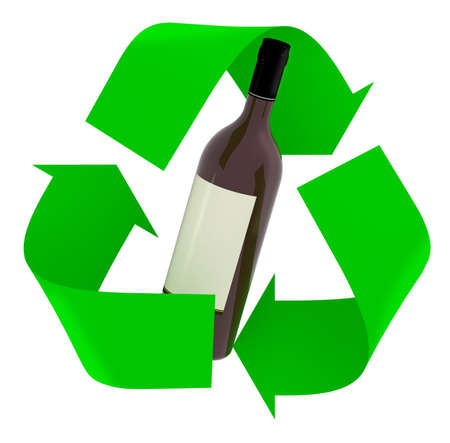 green recycle symbol with wine glass bottle inside, isolated 3d illustration.