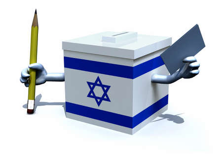 Israeli election ballot box whit arms, pencil and envelope paper on hands, 3d illustration