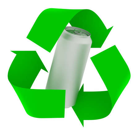 green recycle symbol with aluminium can inside, isolated 3d illustration