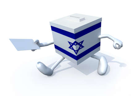 Israeli election ballot box whit arms, legs and envelope paper on hands, 3d illustration