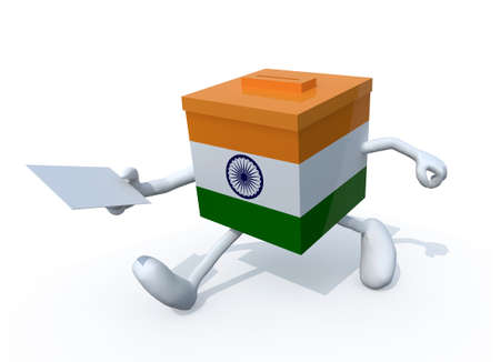 Indian election ballot box whit arms, legs and envelope paper on hands, 3d illustration