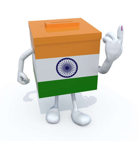 Indian election ballot box whit arms, legs and ink stain on finger, 3d illustration