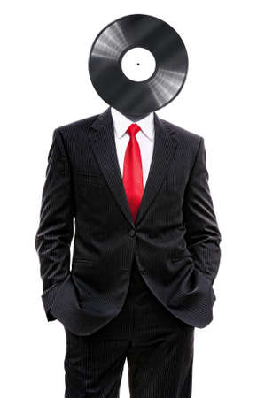 business man with vinyl disk on his head isolated on white, 3d illustration