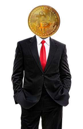 business man with bitcoin on his head isolated on white, 3d illustration