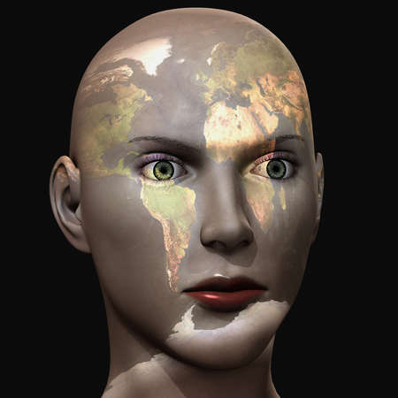 3d illustration woman of world with world map on her face isolated on black .