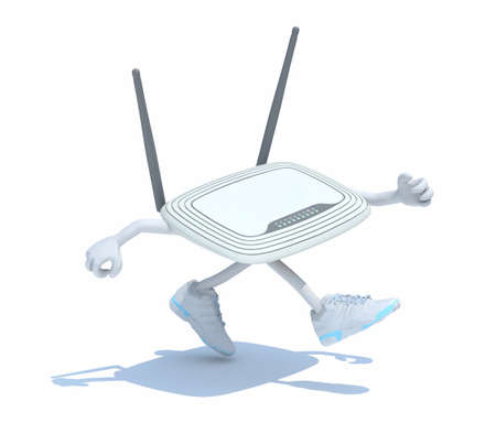 modem-router with arms, legs that run, fast internet connection 3d illustration 写真素材 - 127328715