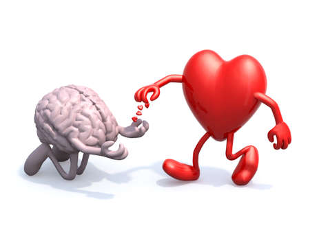 heart and brain love alms, 3d illustration 写真素材 - 130393530