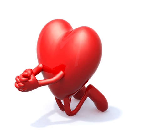 heart cartoon prayer, 3d illustration