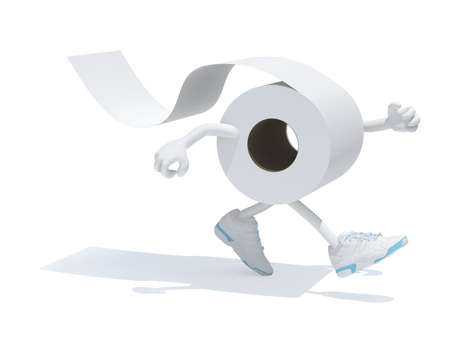toilet paper with arms legs and sneakers on feet, 3d illustration Stockfoto