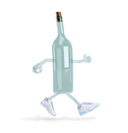 glass bottle with arms, legs and sneakers on feet, 3d illustration Stockfoto