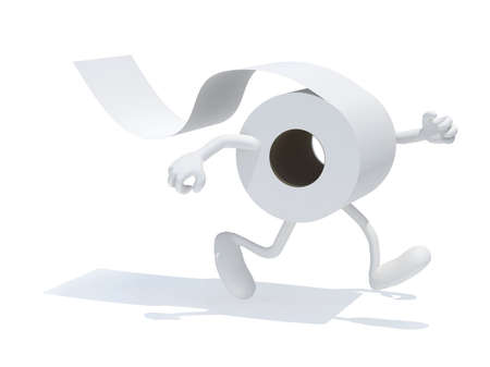 toilet paper with arms and legs, 3d illustration Stockfoto