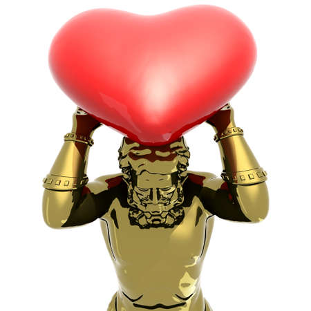 Atlante golden statue with big heart instead earth, 3d illustration