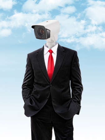 cctv camera instead head of businessman with hands in his pocket, 3d illustration