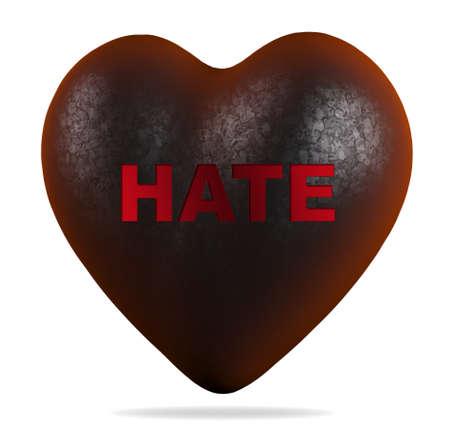 dark heart with hate written on it, 3d illustration