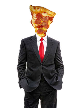 business man with pizza slice instead of head, 3d illustration