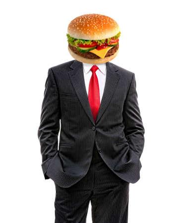 business man with hamburger instead of head, 3d illustration 写真素材