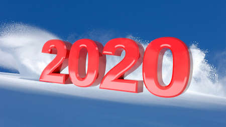 New Year red 2020 on a winter snow background, 3D illustration 写真素材 - 133813460
