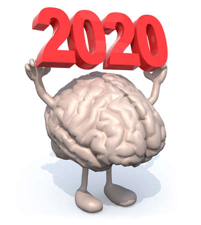 brain with arms, legs and the 3D inscription 2020, 3d illustration