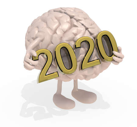 brain with arms, legs and the 3D inscription 2020, 3d illustration 写真素材 - 133813474