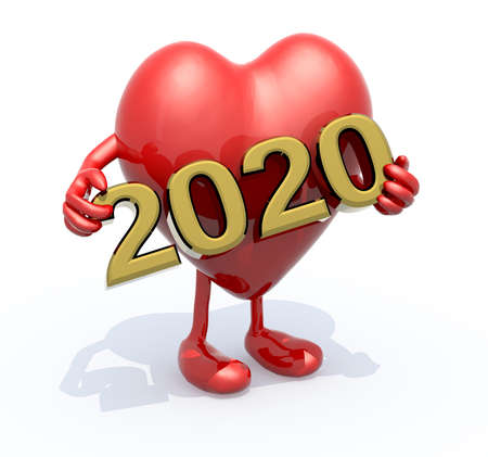 cartoon heart with arms, legs and the 3D inscription 2020, 3d illustration