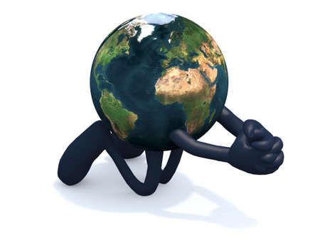 the planet earth with arms and legs praying on its knees, 3d illustration Reklamní fotografie