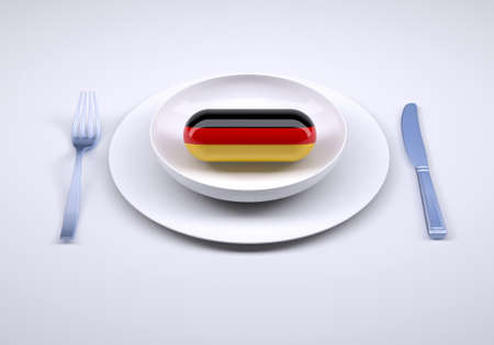 dish with food supplement pill and german flag, 3d illustration Stockfoto