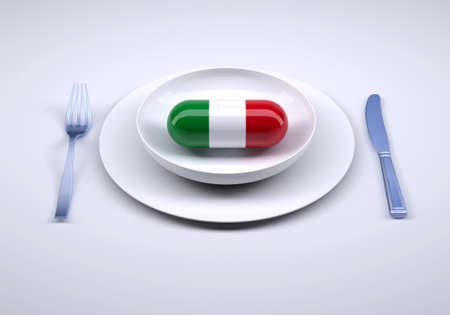 dish with food supplement pill and italian flag, 3d illustration Stockfoto