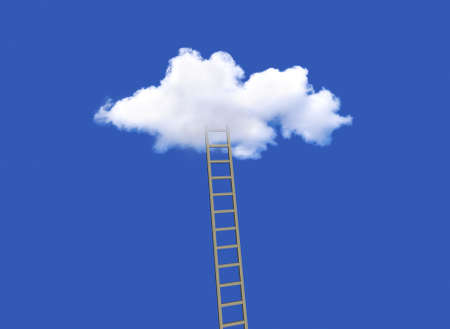 ladder to get inside the cloud on the blue sky, 3d illustration Stockfoto