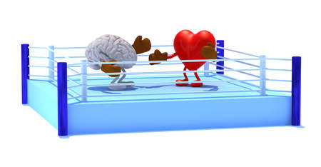 Heart that is fighting with the brain, with boxing gloves in the ring, 3d illustration
