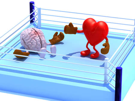 Heart that is fighting with the brain and win, with boxing gloves in the ring, 3d illustration