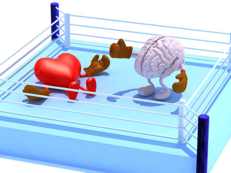 Brain that is fighting with the heart and win, with boxing gloves in the ring, 3d illustration
