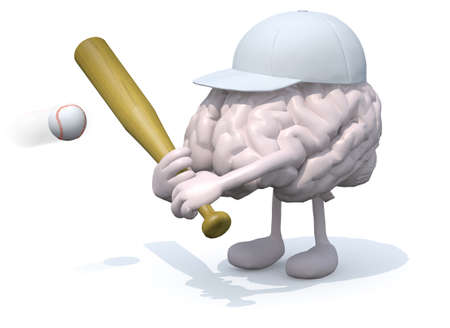 human brain cartoon play baseball, 3d illustration