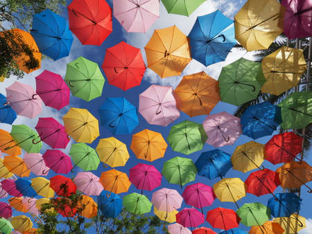 Coral Gables, Florida 08-04-2018 Umbrella Sky in Giralda Plaza, a joint art project by the City of Coral Gables and the Portuguese company Sextafeira.