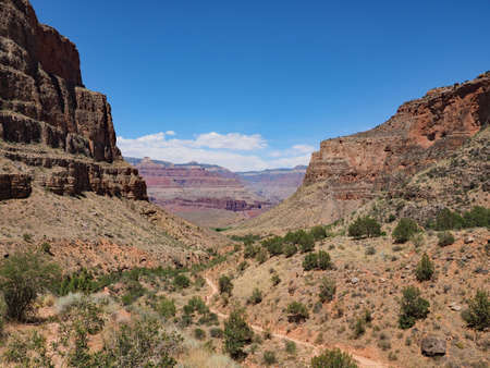 View from the Bright Angel Trail descending toward Indian Garden Gampground in Grand Canyon National Park, Arizona.